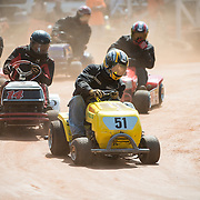 Lawnmower racing is fast and furious at the Patbottom Speedway in York, South Carolina.