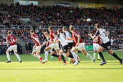 Northampton hold the defensive line during the EFL Sky Bet League 2 match between Northampton Town and Salford City at the PTS Academy Stadium, Northampton, England on 19 October 2019.