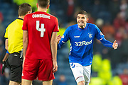 Kyle Lafferty (#11) of Rangers FC appeals to referee Steven McLean during the Ladbrokes Scottish Premiership match between Rangers and Aberdeen at Ibrox, Glasgow, Scotland on 5 December 2018.