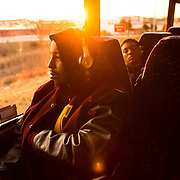 Loyola University Chicago basketball player Adarius Avery listens to music while  headed to O'Hare International Airport for the NCAA Tournament in Dallas, TX., early on Tuesday morning, March 13, 2018. (Photo: Lukas Keapproth)