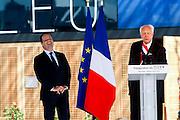 President Francois Hollande and Jean-Claude Gaudin during the opening  ceremony of the Mucem (Musée des civilisations de l'Europe et de la Méditerranée) in Marseille, France on June 4, 2013