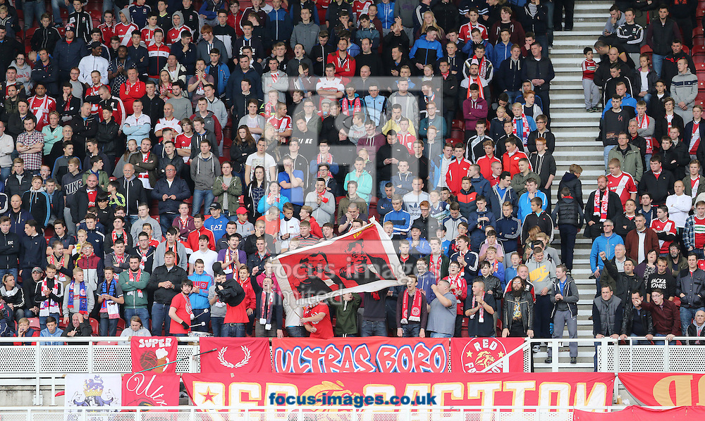 Middlesbrough fans during the Sky Bet Championship match at the Riverside Stadium, Middlesbrough<br /> Picture by Simon Moore/Focus Images Ltd 07807 671782<br /> 04/10/2014