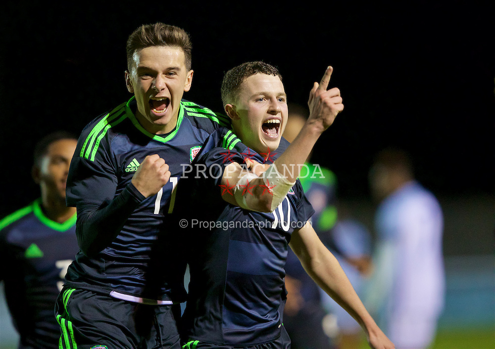 BANGOR, WALES - Saturday, November 12, 2016: Wales' Nathan Broadhead celebrates scoring the third goal against England with team-mate Thomas Harris during the UEFA European Under-19 Championship Qualifying Round Group 6 match at the Nantporth Stadium. (Pic by Gavin Trafford/Propaganda)