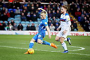 Peterborough Utd's Kyle Dempsey (30) gets in a shot during the EFL Sky Bet League 1 match between Peterborough United and Rochdale at London Road, Peterborough, England on 12 January 2019.