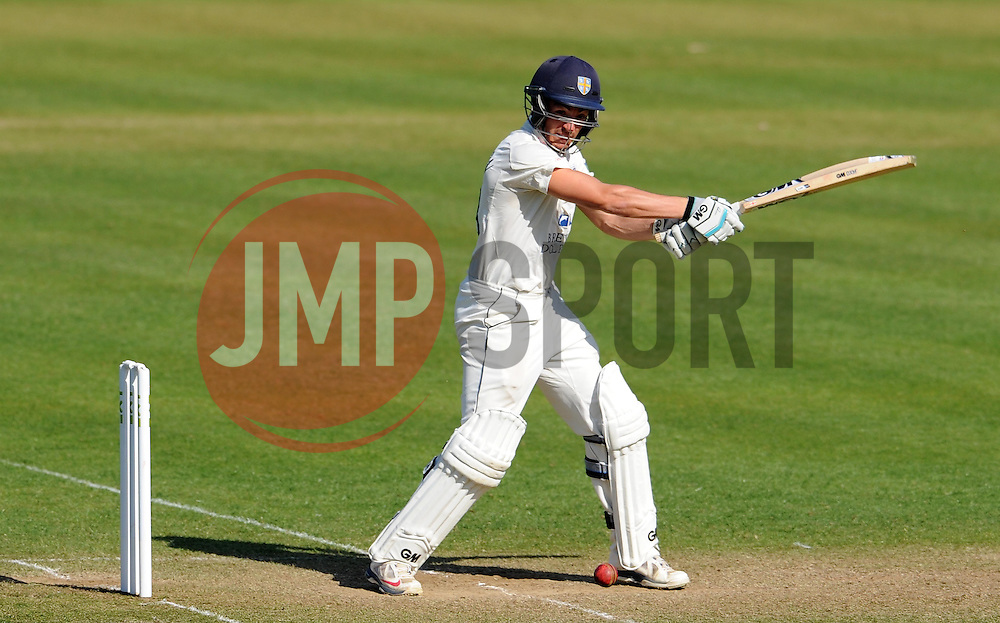 Durham's Michael Richardson hits the ball off the bowling of Somerset's Peter Trego. - Photo mandatory by-line: Harry Trump/JMP - Mobile: 07966 386802 - 14/04/15 - SPORT - CRICKET - LVCC County Championship - Day 3 - Somerset v Durham - The County Ground, Taunton, England.