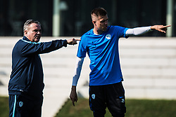 Tomaz Kavcic and Josip Ilicic during practice session of Slovenian national football team, on October 10, 2018 in National Football Center Brdo, Kranj, Slovenia. Photo by Grega Valancic / Sportida