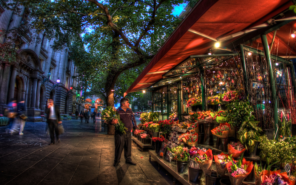 Flower stall outside Melbourne Town Hall. Melbourne in HDR (High Dynamic Range), for The Age iPad App. Pic By Craig Sillitoe CSZ/The Sunday Age 29/5/2011 melbourne photographers, commercial photographers, industrial photographers, corporate photographer, architectural photographers, This photograph can be used for non commercial uses with attribution. Credit: Craig Sillitoe Photography / http://www.csillitoe.com<br /> <br /> It is protected under the Creative Commons Attribution-NonCommercial-ShareAlike 4.0 International License. To view a copy of this license, visit http://creativecommons.org/licenses/by-nc-sa/4.0/. This photograph can be used for non commercial uses with attribution. Credit: Craig Sillitoe Photography / http://www.csillitoe.com<br /> <br /> It is protected under the Creative Commons Attribution-NonCommercial-ShareAlike 4.0 International License. To view a copy of this license, visit http://creativecommons.org/licenses/by-nc-sa/4.0/. This photograph can be used for non commercial uses with attribution. Credit: Craig Sillitoe Photography / http://www.csillitoe.com<br /> <br /> It is protected under the Creative Commons Attribution-NonCommercial-ShareAlike 4.0 International License. To view a copy of this license, visit http://creativecommons.org/licenses/by-nc-sa/4.0/.