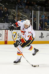 Feb 8, 2012; San Jose, CA, USA; Calgary Flames defenseman Jay Bouwmeester (4) warms up before the game against the San Jose Sharks at HP Pavilion. Mandatory Credit: Jason O. Watson-US PRESSWIRE