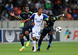 Luvolwethu Mpeta of Platinum Stars (L), Sizwe Mdlinzo of Chippa United and Siyabonga Zulu of Platinum Stars during the 2016 Premier Soccer League match between Chippa United and Platinum Stars held at the Nelson Mandela Bay Stadium in Port Elizabeth, South Africa on the 28th October 2016<br />
