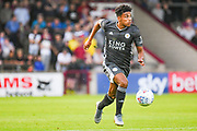 James Justin of Leicester City (2) in action during the Pre-Season Friendly match between Scunthorpe United and Leicester City at Glanford Park, Scunthorpe, England on 16 July 2019.