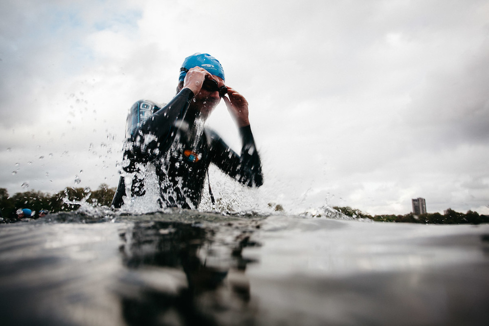 Journalist, Oliver Pickup, tests his swimming techniques after tutoring from British professional triathlete Jodie Stimpson. 6th May 2015, London. Photographed by Greg Funnell for the Financial Times.