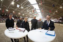 Jury: De Smet Stefaan, Floren L, Bode H, Van Den Broeck H, Meurrens Ine, Van Den Houte G <br /> Vrijspringen<br /> BWP Hengstenkeuring 2014 - Azelhof Lier<br /> © Dirk Caremans