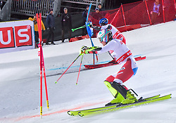 19.02.2019, Stockholm, SWE, FIS Weltcup Ski Alpin, Parallelslalom, Herren, im Bild v.l. Daniel Yule (SUI), Marco Schwarz (AUT) // f.l. Daniel Yule of Switzerland Marco Schwarz of austria in action during the men's parallel slalom of FIS ski alpine world cup at the Stockholm, Sweden on 2019/02/19. EXPA Pictures © 2019, PhotoCredit: EXPA/ Nisse Schmidt<br /> <br /> *****ATTENTION - OUT of SWE*****