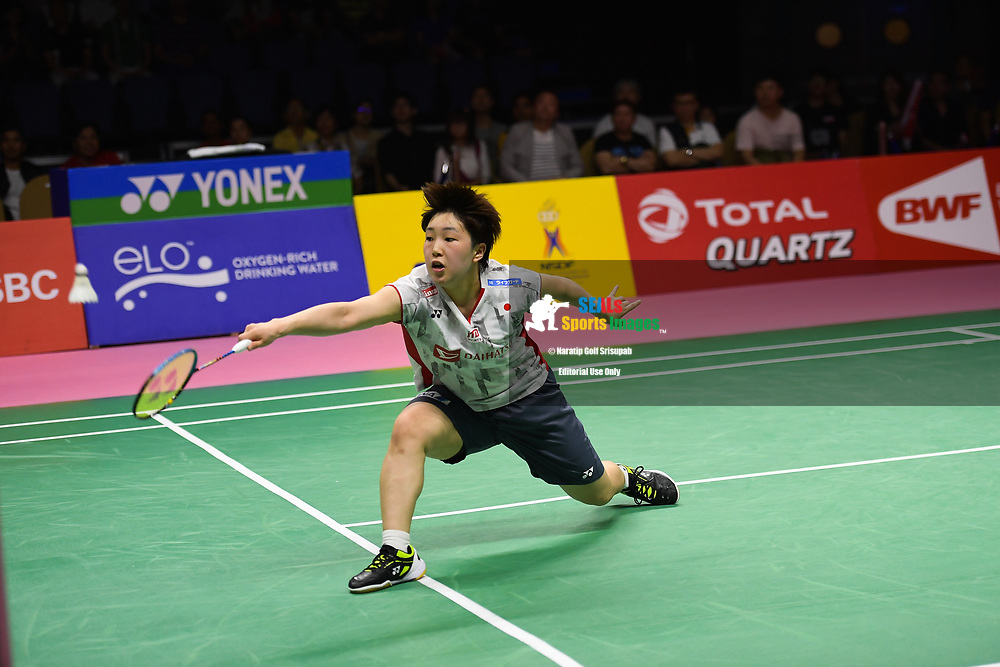 BANGKOK, THAILAND - MAY 26: Akane Yamaguchi of Japan in action on Court 1 during her Uber Cup Finals match against Ratchanok Intanon of Thailand at the BWF Total Thomas and Uber Cup Finals 2018, Impact Arena , Bangkok, Thailand on May 26, 2018.<br /> .<br /> .<br /> .<br /> Photo by: Naratip Golf Srisupab/SEALs Sports Images<br /> <br /> .<br /> All photo must include a credit line adjacent to the content: Naratip Golf Srisupab/SEALs Sports Images
