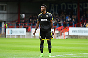 Jayden Antwi (29) of AFC Wimbledon during the Pre-Season Friendly match between Aldershot Town and AFC Wimbledon at the EBB Stadium, Aldershot, England on 28 July 2017. Photo by Graham Hunt.
