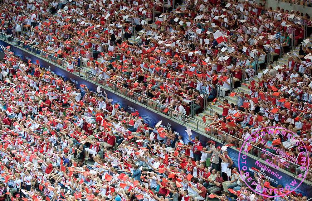 POLISH SUPPORTERS DURING VOLLEYBALL WORLD LEAGUE FINAL - THIRD PLACE MATCH AT GAME BETWEEN POLAND AND ARGENTINA IN ERGO ARENA IN GDANSK, POLAND...POLAND, GDANSK , JULY 10, 2011..( PHOTO BY ADAM NURKIEWICZ / MEDIASPORT )..PICTURE ALSO AVAIBLE IN RAW OR TIFF FORMAT ON SPECIAL REQUEST.
