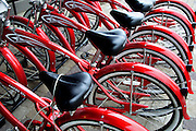 USA, Idaho, McCall, Red Bikes for Rent