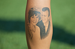 SLOUGH, ENGLAND - Monday, August 26, 2019: A tattoo of Natasha Harding's parents on her left leg during a training session at Arbour Park ahead of the UEFA Women Euro 2021 Qualifying Group C match against the Faroe Islands. (Pic by David Rawcliffe/Propaganda)