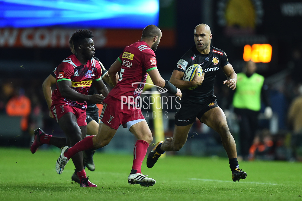Olly Woodburn of Exeter Chiefs bursts forward during the Aviva Premiership match between Exeter Chiefs and Harlequins at Sandy Park, Exeter, United Kingdom on 19 November 2017. Photo by Graham Hunt.