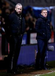 Cambridge United manager Shaun Derry and Leeds United manager Garry Monk - Mandatory by-line: Robbie Stephenson/JMP - 09/01/2017 - FOOTBALL - Cambs Glass Stadium - Cambridge, England - Cambridge United v Leeds United - FA Cup third round