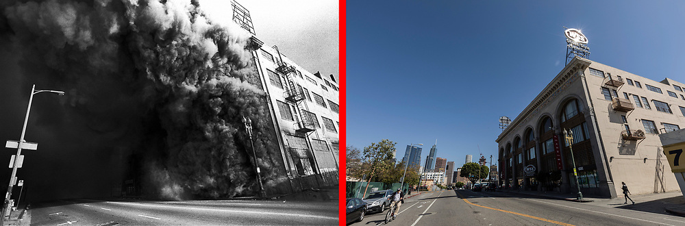 Before and after photos of 7th Street at S.Union Ave.<br /> <br /> 25 before and after LA92 photo project.