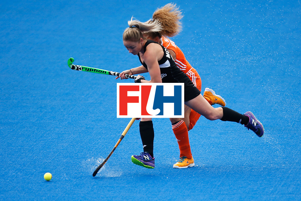 LONDON, ENGLAND - JUNE 18:  Anita McLaren of New Zealand and Maria Verschoor of the Netherlands battle for the ball during the FIH Women's Hockey Champions Trophy 2016 match between Netherlands and New Zealand at Queen Elizabeth Olympic Park on June 18, 2016 in London, England.  (Photo by Joel Ford/Getty Images)