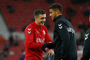 Middlesbrough forward Jordan Hugill (11) and Middlesbrough forward Rudy Gestede (39)  warming up  during the EFL Sky Bet Championship match between Middlesbrough and Derby County at the Riverside Stadium, Middlesbrough, England on 27 October 2018.
