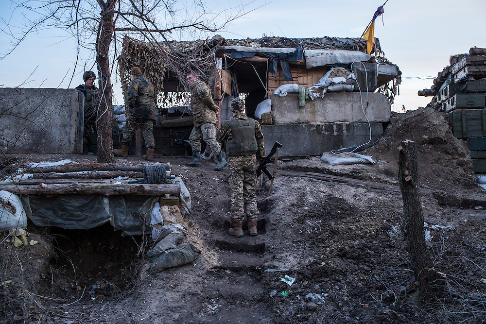 A front-line Ukrainian military position on Sunday, February 7, 2016 in Stanitsa Luhanska, Ukraine.