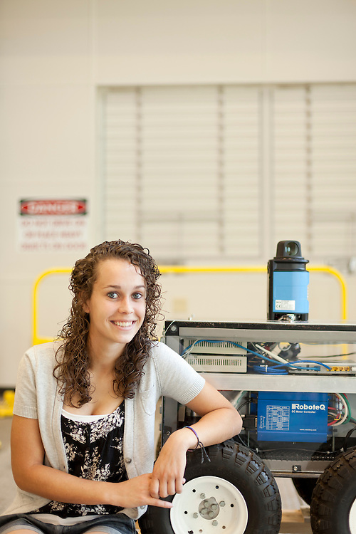 Robotic snow plow, student Samantha. Photo for University Advancement, Jenn Bowie.