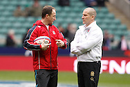 Picture by Andrew Tobin/Focus Images Ltd +44 7710 761829.10/03/2013.  England head coach Stuart Lancaster (R) with Mike Catt before the RBS 6 Nations match at Twickenham Stadium, Twickenham.