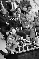 17 Apr 1981, Havana, Cuba --- Fidel Castro delivers a speech on the 20th anniversary of the Bay of Pigs Invasion. --- Image by © Owen Franken/CORBIS