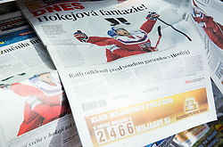 Czech newspapers day after the Ice Hockey match between Finland and Czech Republic at Quarterfinals of 2015 IIHF World Championship, on May 15, 2015 in Prague, Czech Republic. Photo by Vid Ponikvar / Sportida