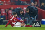 Middlesbrough midfielder Gaston Ramirez (21) gets an injury and has to be substituted during the Premier League match between Middlesbrough and Hull City at the Riverside Stadium, Middlesbrough, England on 5 December 2016. Photo by Simon Davies.