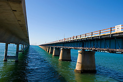 The eastern end of Seven Mile Bridge and Seven Mile Historic Bridge.  The bridge connects Key Vaca at Marathon, Florida to the lower keys at Little Duck Key.