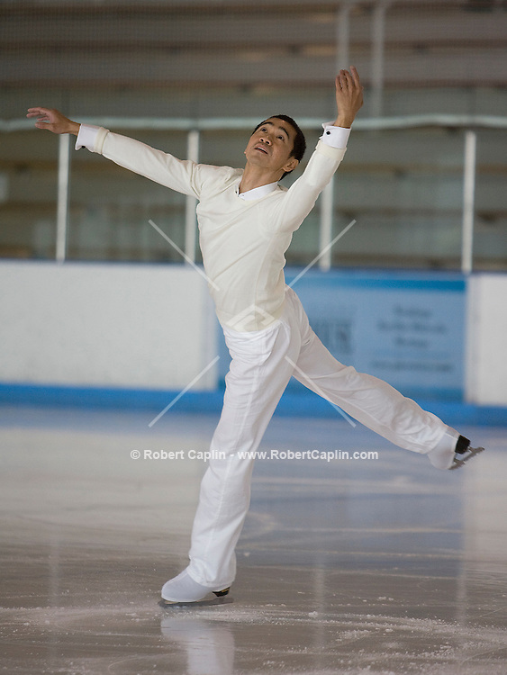 David Lui rehearses for the Ice Theater of New York at Chelsea Piers in New York, Oct. 18, 2007. Photographer: Robert Caplin For The New York Times