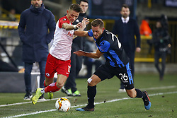 February 14, 2019 - Brugge, Belgium - BRUGGE, BELGIUM - FEBRUARY 14 :  Hannes Wolf midfielder of FC Salzburg and Mats Rits midfielder of Club Brugge during the UEFA Europa League, Round of 32, 1st leg match between Club Brugge and FC Salzburg at the Jan Breydel stadium on February 14, 2019 in Brugge, Belgium, 14/02/2019 (Credit Image: © Panoramic via ZUMA Press)