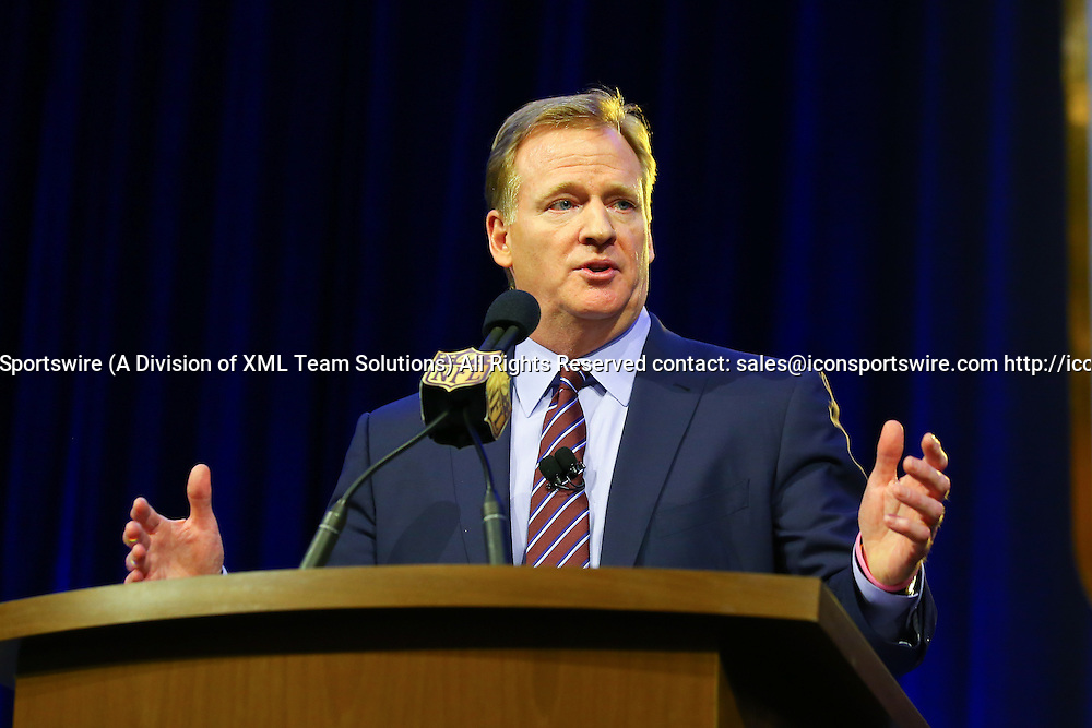 05 FEB 2016: Commissioner Roger Goodell during his Press Conference at the Moscone Center in San Francisco California.  (Photo by Rich Graessle/Icon Sportswire)