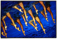 March 20 2007. The Spanish Synchronised Swimming team in action, during the Synchronised Swimming at the 2007 World Swimming Championships at Rod Laver Arena. Melbourne. Picture by Shannon Morris