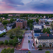 An aerial view of the African Burying Ground Memorial in Portsmouth, NH, taken on May 24, 2015, the first sunrise after its unveiling on May 23.