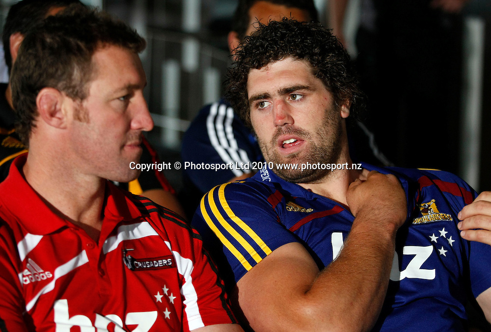 Highlanders prop Jamie Macintosh talks to Crusaders veteren Chris Jack. 2011 Investec Super 15 New Zealand franchises rugby squad naming, Eden Park, Auckland, Wednesday 10 November 2010. Photo: Simon Watts/photosport.co.nz