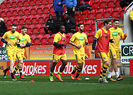 Fulham players wear Kick It Out t-shirt whilst warming up prior the Sky Bet Championship match at the New York Stadium, Rotherham<br /> Picture by James Wilson/Focus Images Ltd 07709 548263<br /> 01/04/2017