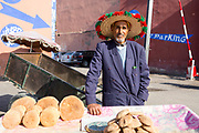 Bread seller, Marrakech medina, Morocco, 2017–11-06.