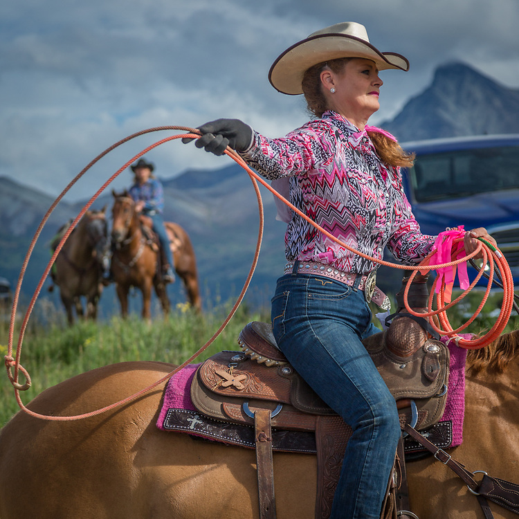 Roper Debbie Erickson warms up before her rodeo event at the Alaska State Fair in Palmer, Alaska
