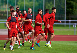 ROTTACH-EGERN, GERMANY - Friday, July 28, 2017: Liverpool's Ben Woodburn, Roberto Firmino and Dominic Solanke during a training session at FC Rottach-Egern on day three of the preseason training camp in Germany. (Pic by David Rawcliffe/Propaganda)