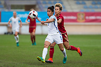 England's Demi Stokes and Spain's Amanda Sampedro during the frendly match between woman teams of  Spain and England at Fernando Escartin Stadium in Guadalajara, Spain. October 25, 2016. (ALTERPHOTOS/Rodrigo Jimenez)