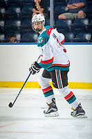 KELOWNA, CANADA - SEPTEMBER 2: Defenseman Kelvin Hair #3 of the Kelowna Rockets warms up against the Victoria Royals on September 2, 2017 at Prospera Place in Kelowna, British Columbia, Canada.  (Photo by Marissa Baecker/Shoot the Breeze)  *** Local Caption ***