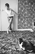 Nev and Smudge in the Front Room, Hawthorne Rd, High Wycombe, UK, 1980s.