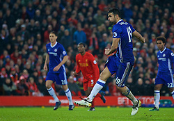LIVERPOOL, ENGLAND - Tuesday, January 31, 2017: Chelsea's Diego Costa sees his penalty kick saved by Liverpool's goalkeeper Simon Mignolet [out of frame] during the FA Premier League match at Anfield. (Pic by David Rawcliffe/Propaganda)