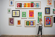 "Tate Modern's new exhibition, Henri Matisse: The Cut-Outs, is devoted to the artist's paper cut-outs made between 1943 and 1954. It brings together around 120 works, many seen together for the first time, in a ""groundbreaking"" reassessment of Matisse's colourful and innovative final works. The exhibition opens at Tate Modern on 17 April 2014. They were collected together in Jazz 1947 (Pompidou, Paris), a book of 20 plates. And this will be the first time that the maquettes and the book have been shown together outside of France. Other major cut-outs in the exhibition include Tate's The Snail 1953, its sister work Memory of Oceania 1953 and Large Composition with Masks 1953. The show also includes the largest number of Matisse's Blue Nudes ever exhibited together, including the most significant of the group Blue Nude I 1952. Tate Britain, London, UK."