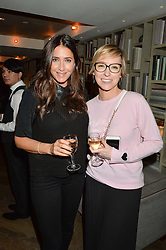 Left to right, LISA SNOWDON and JO ELVIN at a party hosted by Donna Ida to celebrate 'A Decade in Denim' held at The hari Hotel, 20 Chesham Place, London on 11th October 2016.